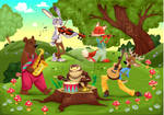 Musicians Animals in the wood. Vector illustration
