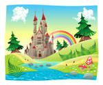 Panorama with castle. Cartoon vector illustration