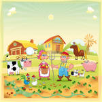 Farm Family. Funny cartoon and vector illustration