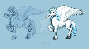 Pegasus. Cartoon vector character + draft