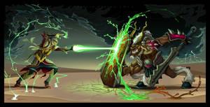 Fighting scene between elf and beast. Vector.