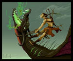 Elf is riding the dragon. Vector illustration