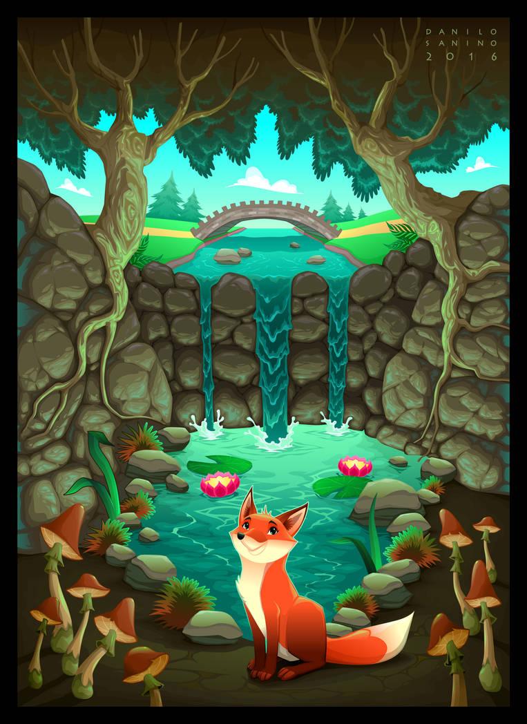 The fox near a pond
