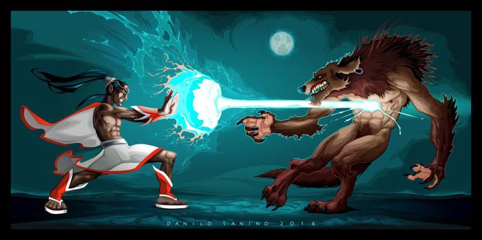 Fighting scene between elf and werewolf