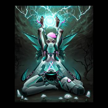 Robotic fairy. Raster illustration