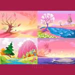 Set of cartoon fantasy landscapes