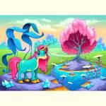 Happy unicorn in a landscape of dreams