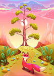 Landscape in the sunset with fox. Vector cartoon i