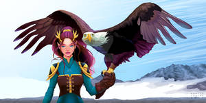 Eagle trainer elf on the mountains