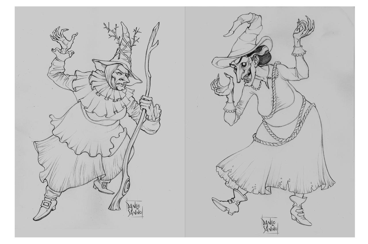 Vintage witches - pencil sketches
