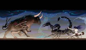 Zodiacal battle between Taurus and Scorpio