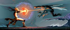 Battle between magician elf and reptilian monster