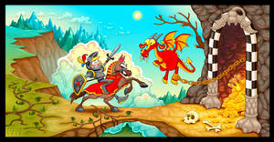 Knight fighting the dragon with treasure