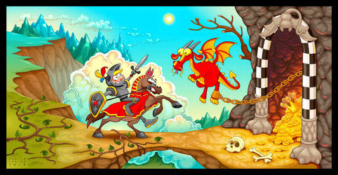 Knight fighting the dragon with treasure by neptune82