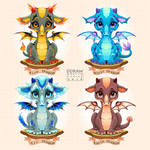 Collection of four natural element baby dragons