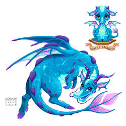 Dragon of Water Element, puppy and adult by neptune82