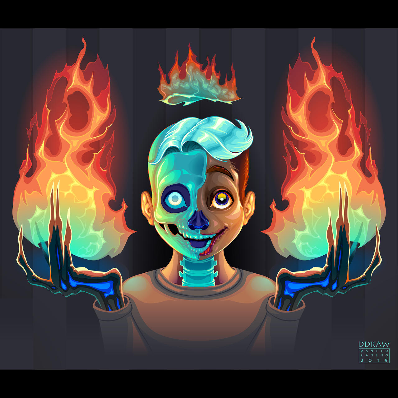 Ghost boy with fire in his hands. Vector