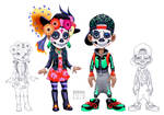 Characters celebrating the Mexican Halloween