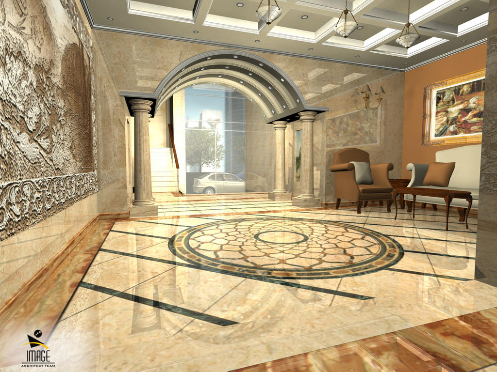 Residential building entrance lobby interior d by for House entrance designs interior