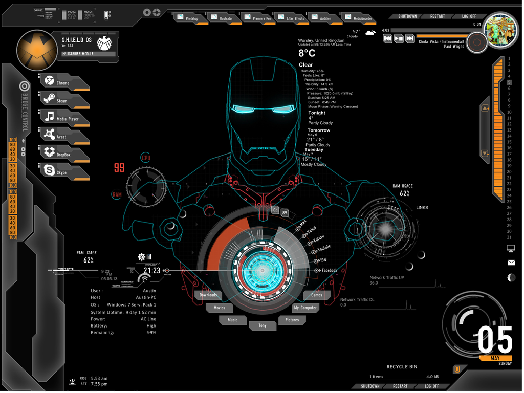 Iron man rainmeter 2 by thatonedude476 on deviantart for Deviantart rainmeter