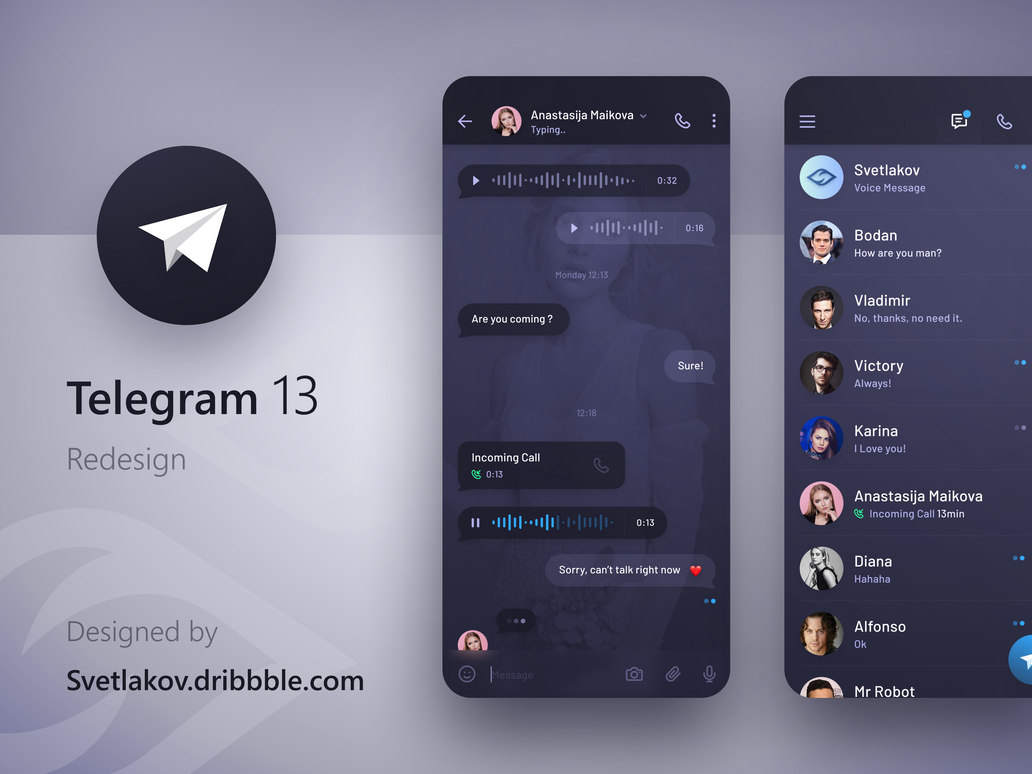 Dark Telegram Redesign by iEimiz