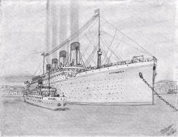 RMS Titanic at cherbourge by carsdude