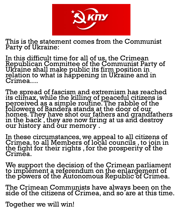 Statement from our Ukrainian Comrades by Party9999999