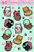 Yummy Kitty stickers by Moemai