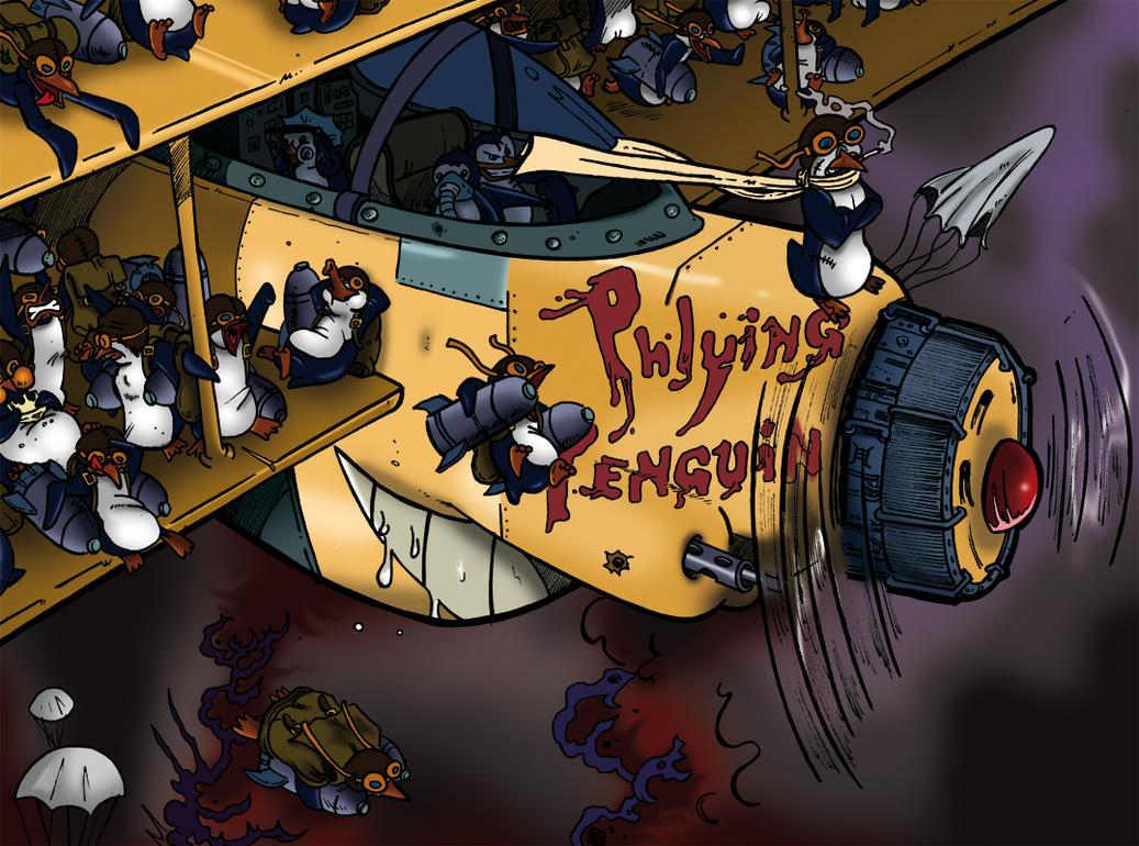 Penguin vs Spiders vs Wolves Attack_of_flying_penguins_by_boscoloandrea-d2xu525