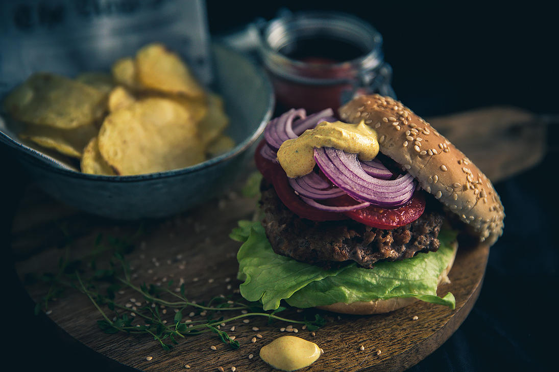 Curry Burger with Chips by Pixelcoma