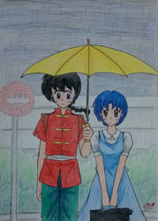 Ranma and Akane : Rainy day by Dark0Light
