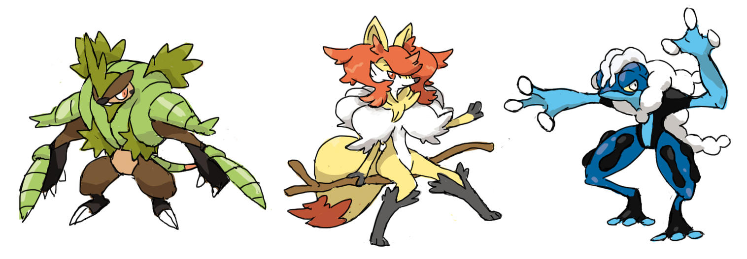 Kalos Starter Evolutions by Seyanni