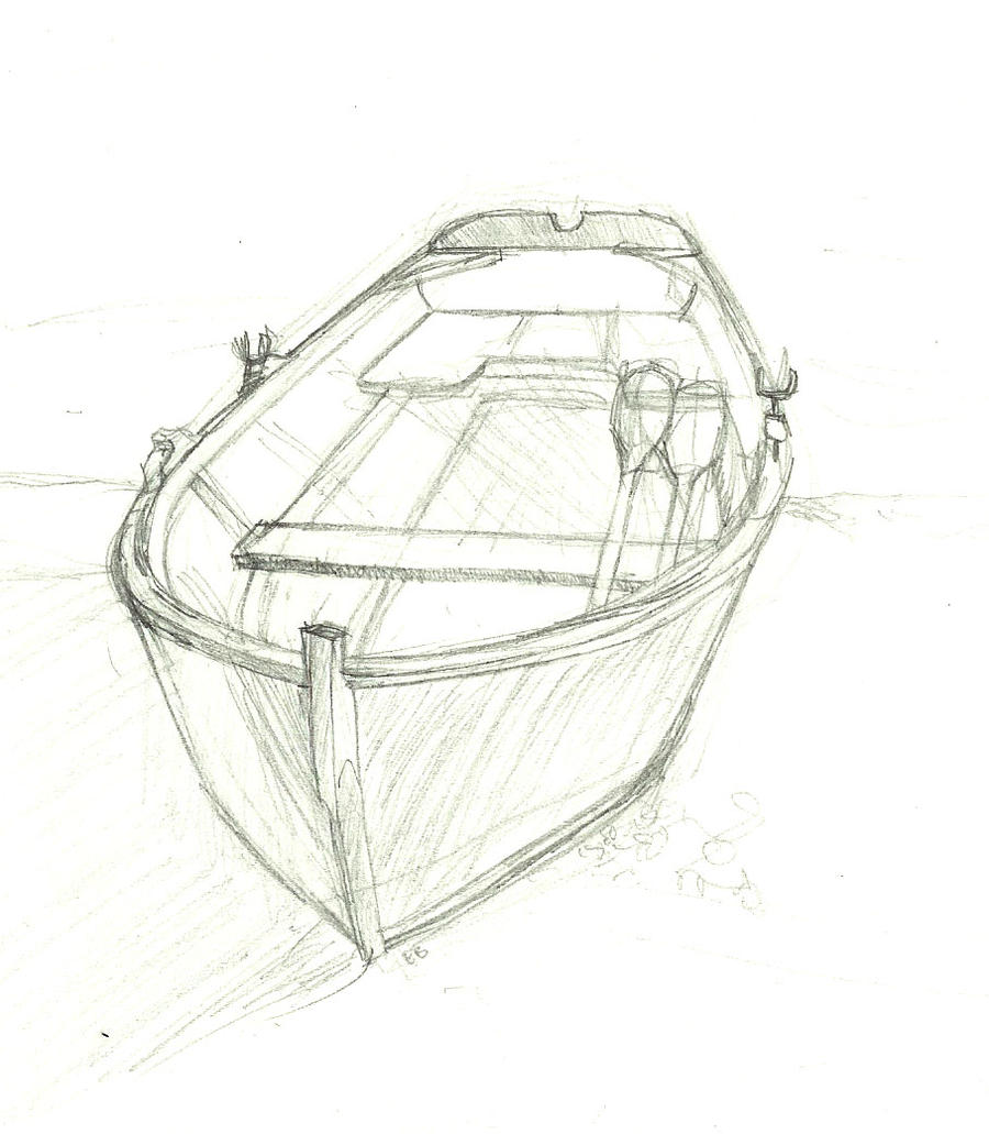 how to draw a rowboat
