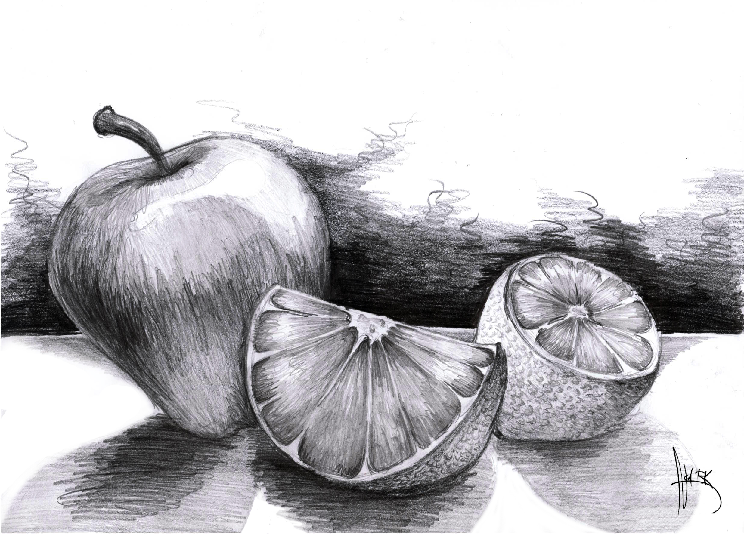 how to draw a fruit bowl