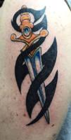Tribal and Dagger Tattoo