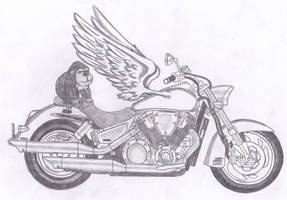 gorilla on a winged motorcycle by spellfire42489