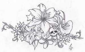 TropicalFlowersWithLittleSkull by spellfire42489