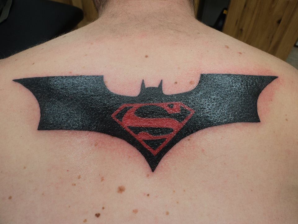 Batman superman logo tattoo by spellfire42489 on deviantart for Batman logo tattoo