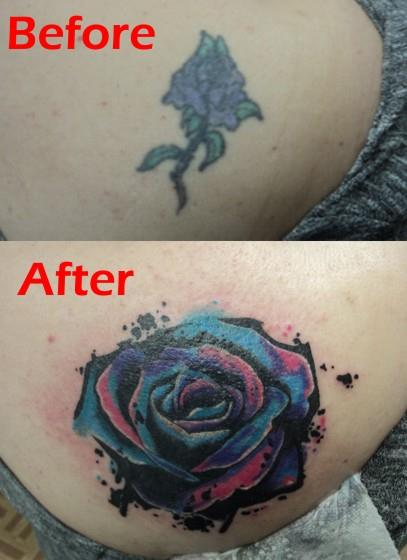 Watercolor Rose cover-up Tattoo by spellfire42489 on DeviantArt