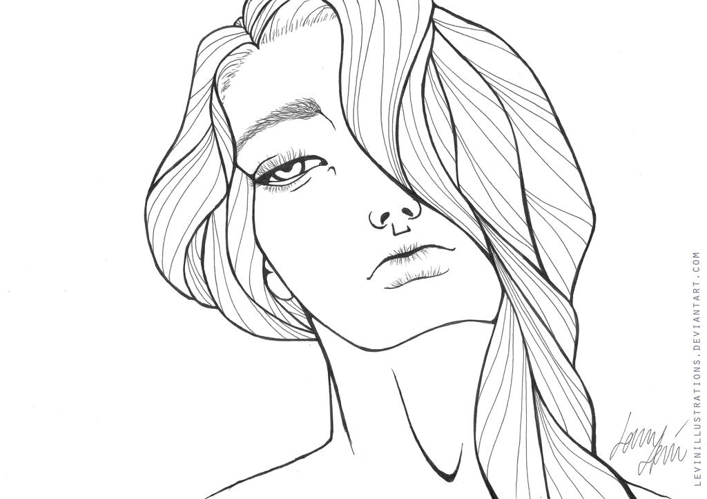 Line Drawing Faces : Queen b line art by levinillustrations on deviantart