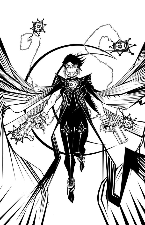 Bayonetta 2 black and white by SeanLenahanSD