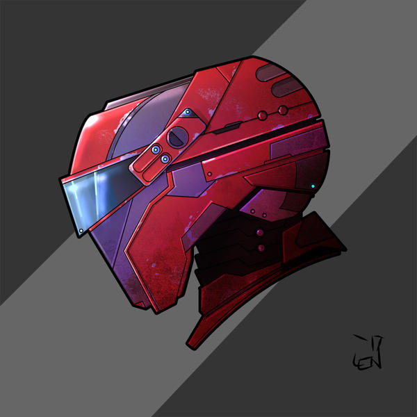 purple and red mech head
