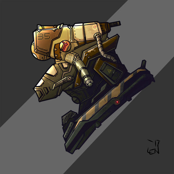 yellow and green mech head