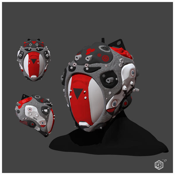 Red grey white cyberpunk helmet