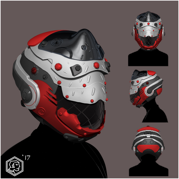 Red black white cyberpunk helmet