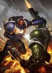 Games Workshop art test - Space Marine vs Orc