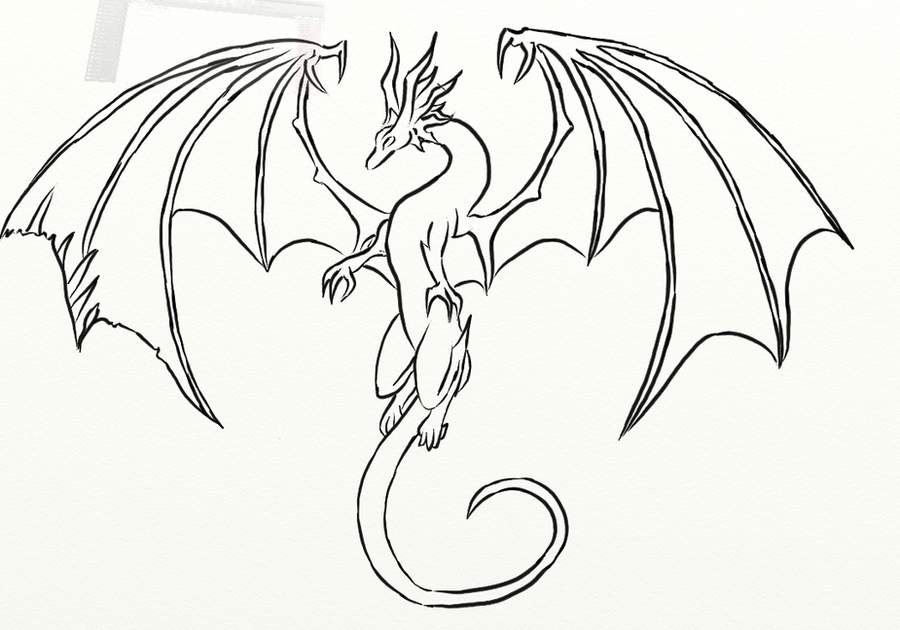 Simple Dragon Line Art : Flying dragon sketch by on deviantart
