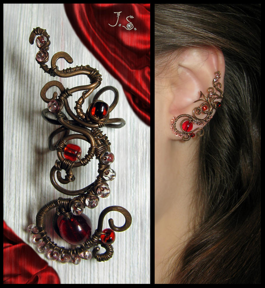 Ear cuff Red by JSjewelry