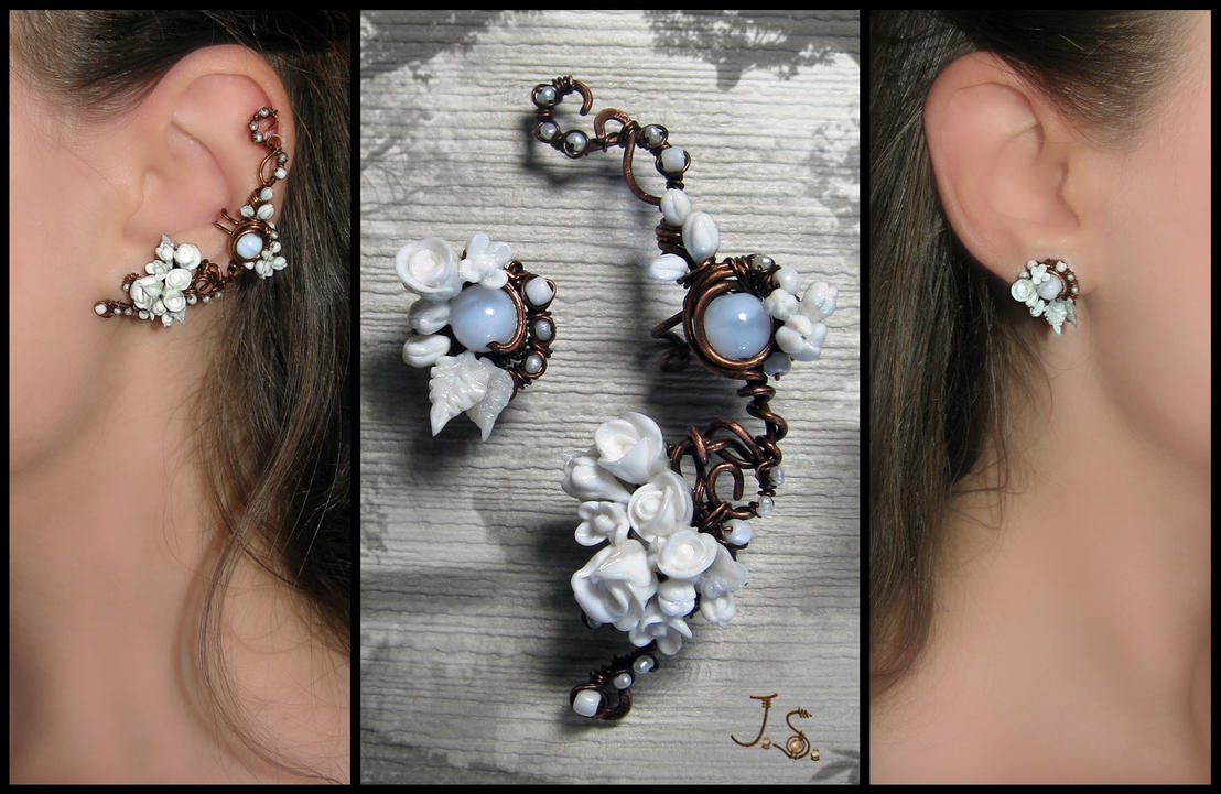 Snowy garden ear cuff and stud by JSjewelry