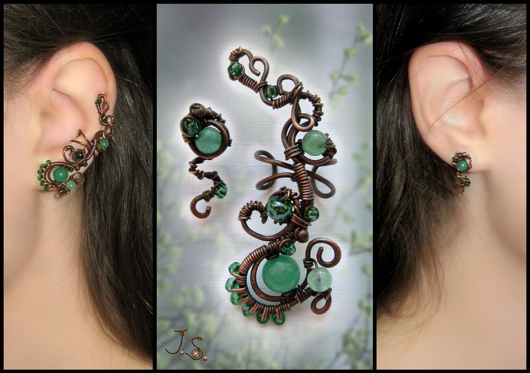 First foliage ear cuff and stud by JSjewelry
